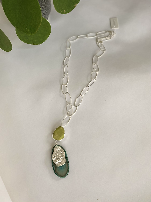 Long Silver & Green Stones Necklace