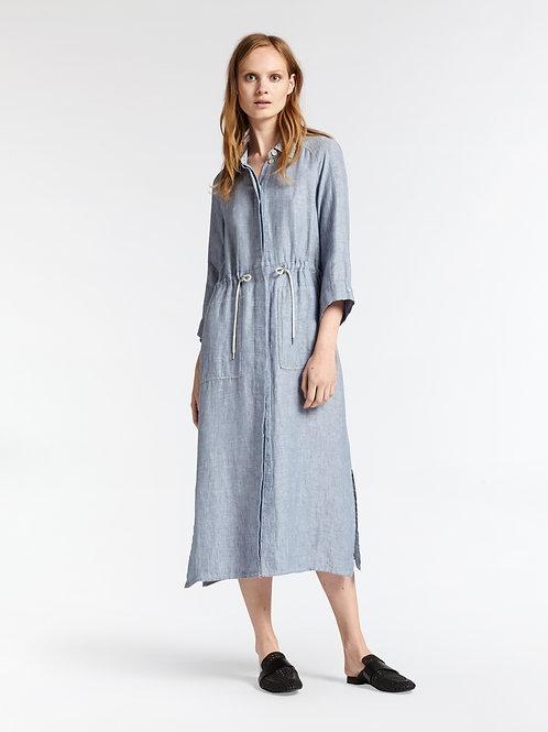 Sandwich Long Linen Shirt Dress