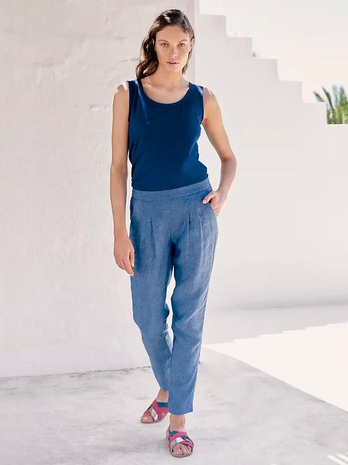 White Stuff Maison Linen Trouser - Denim Blue