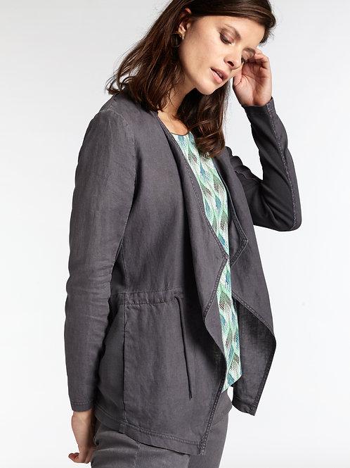 Sandwich Drape Front Linen Jacket - Anthracite