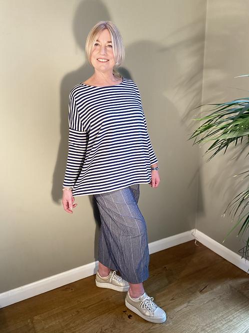 Mama B Ruche Top Blu Stripe