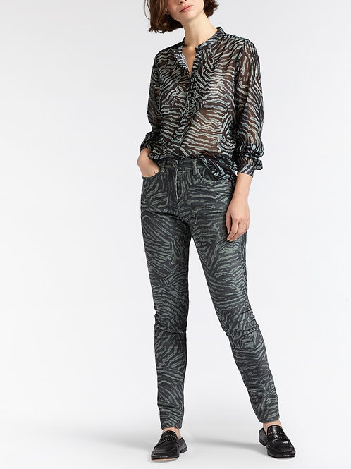 Sandwich Ribbed Jeans - Animal Print