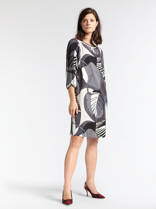 Sandwich_ Abstract Leaf Print Dress - Anthracite