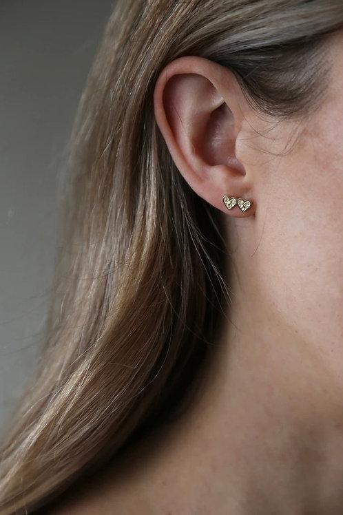 Tutti & Co Double Heart Stud Earrings