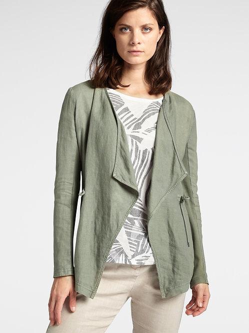 Sandwich Drape Front Linen Blend Jacket