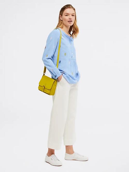 White Stuff Handloom Linen Top - Pelican Blue