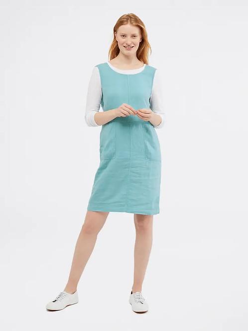 White Stuff Ada Linen Pinny Dress - Pottery Blue