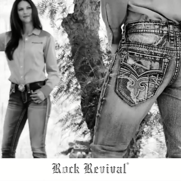 Rock Revival Jeans in Front of Tree