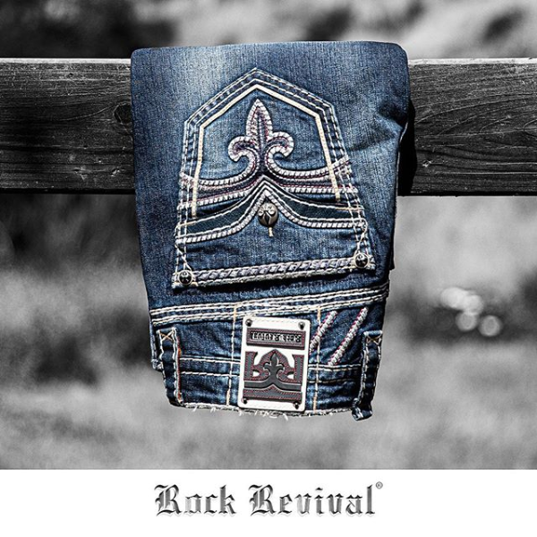 Rock Revival Jean Display Old Fence