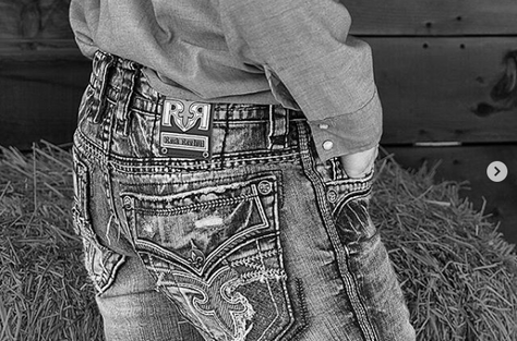 Rock Revival Jean Shot with Straw Bale