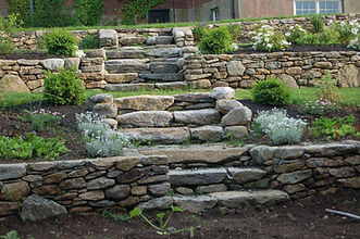 Stone retaining walls and steps in Ipswich MA