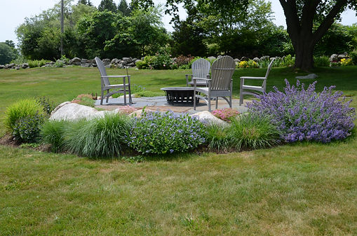 Stone patio with plantings-Rue-Sherwood-Landscape-Design