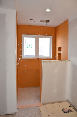 Shower area completed with Schluter