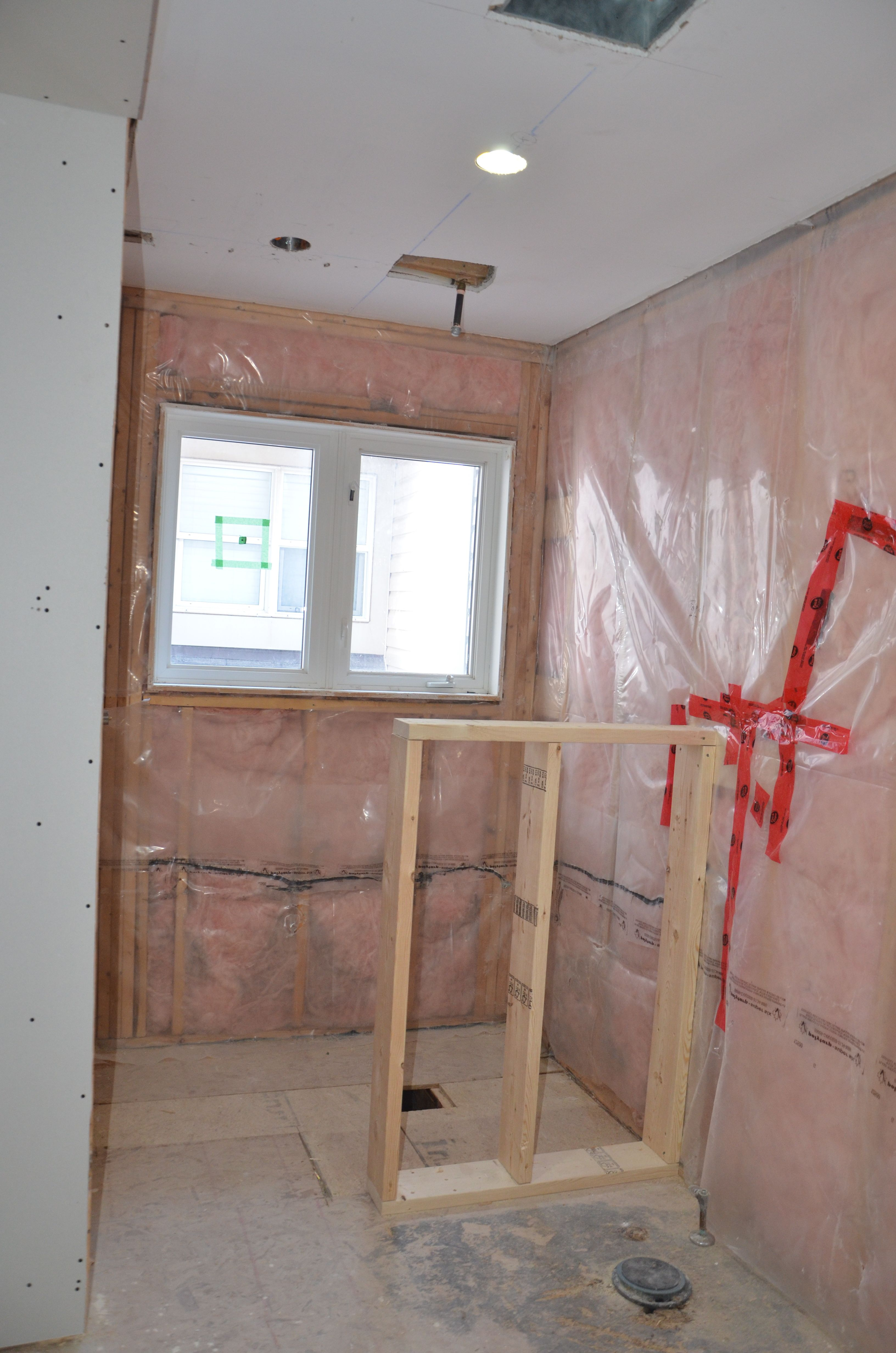 Shower area framed in