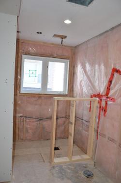 Shower area framed in