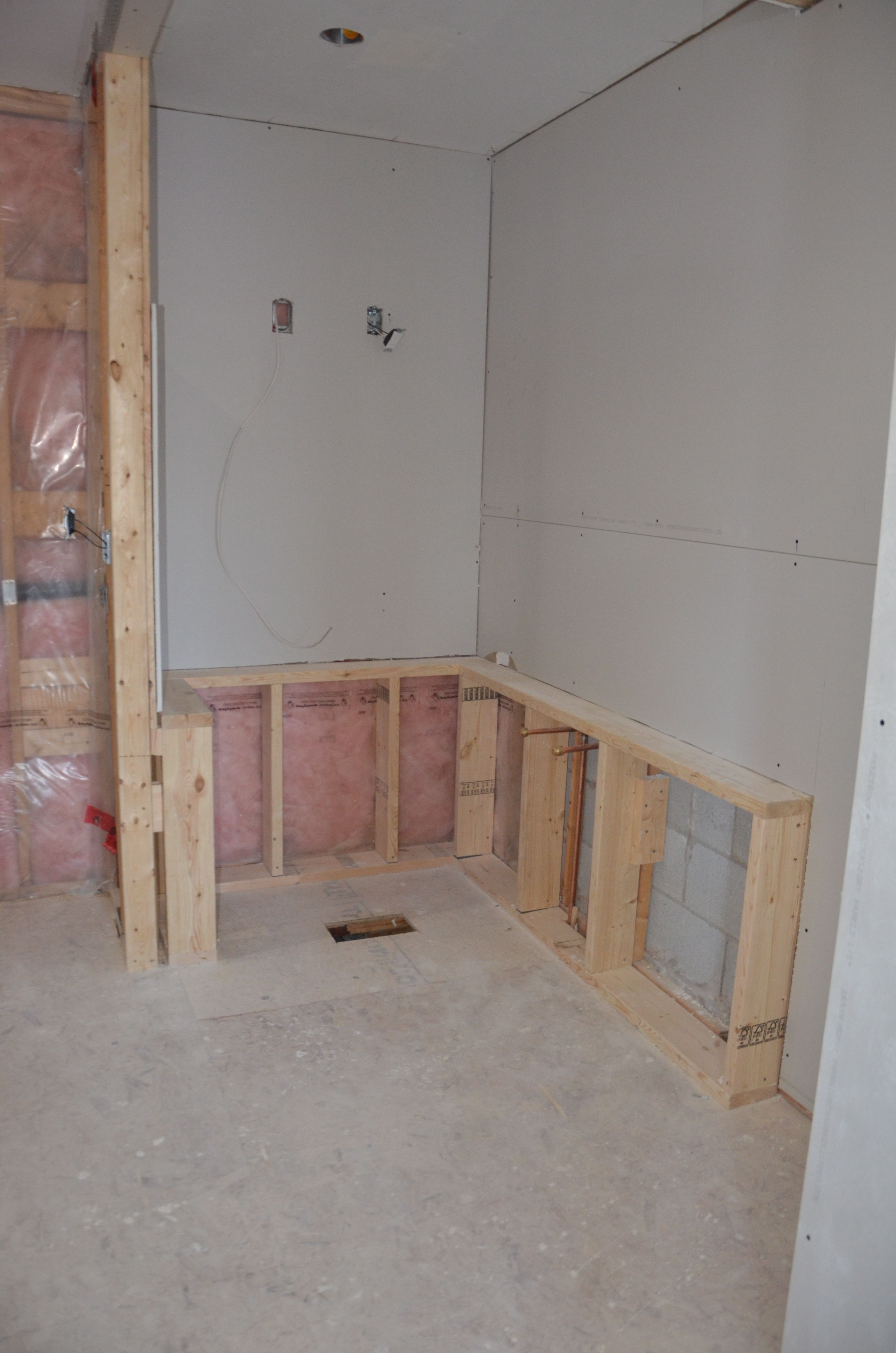 Tub area framed in