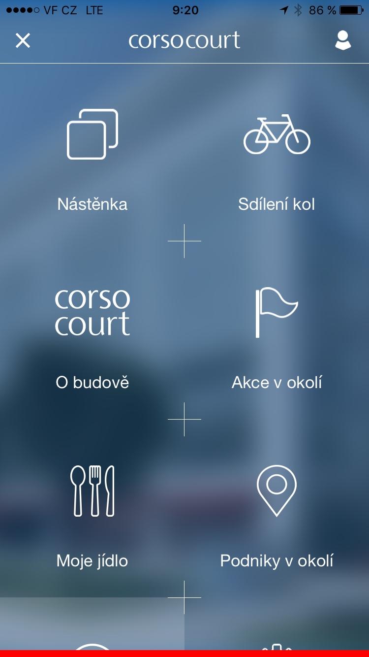 Menu aplikace Corso-Court