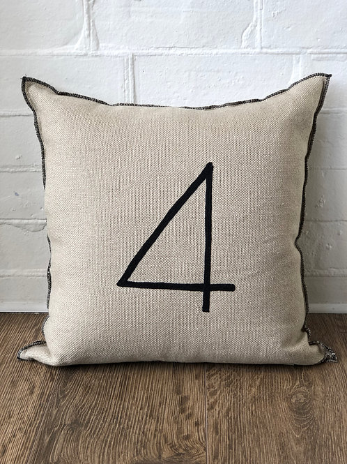 "CUSHION WITH NUMBER ""4"" EMBROIDERY"