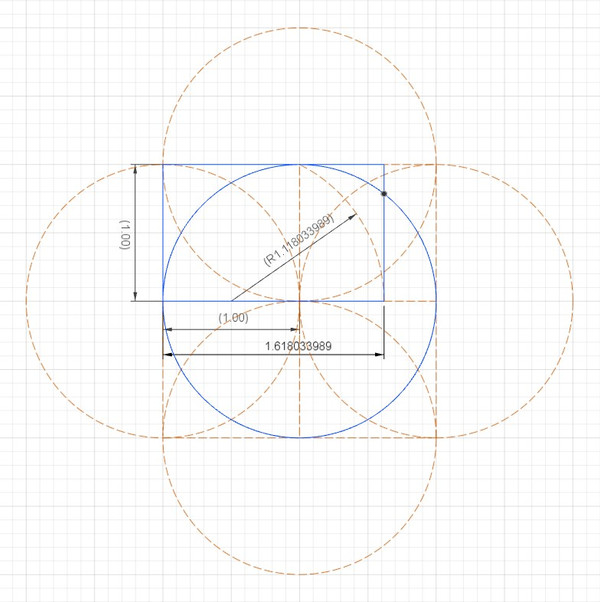 The intersection of golden rectangle with circle.