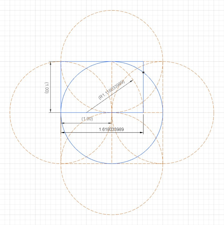 intersection of golden rectangle with circle