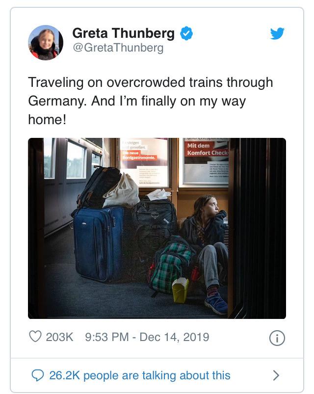 Great Thunberg train tweet