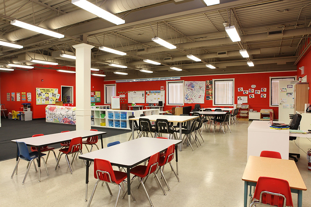 A large open classroom at Missing Links school