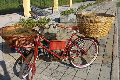 Bicicleta vintage vermelha para decoração retrô com dois cestos grandes