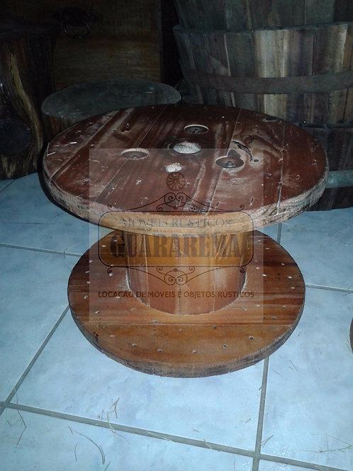 Carretel de madeira 0,40 diâmetro x 0,26m altura para decoração.