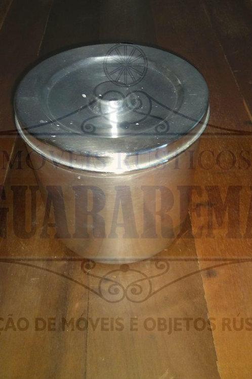 Pote antigo para mantimento em alumínio com tampa (18 cm diâmetro).