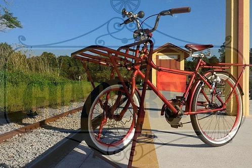 Bicicleta vintage vermelha para decoração retrô.