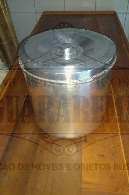 Pote antigo para mantimento em alumínio com tampa (28 cm diâmetro).