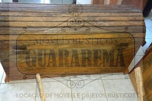 Baú rústico em madeira peroba (1,20 x 0,50 x 0,68m altura).