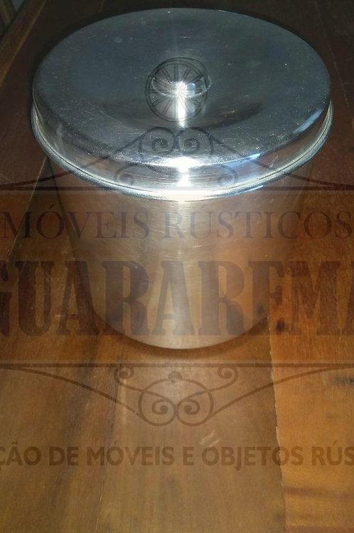 Pote antigo para mantimento em alumínio com tampa (20 cm diâmetro).