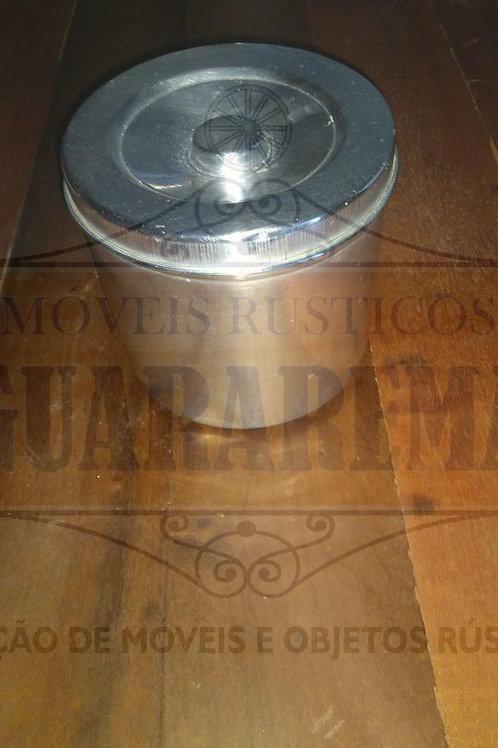 Pote antigo para mantimento em alumínio com tampa (15 cm diâmetro).