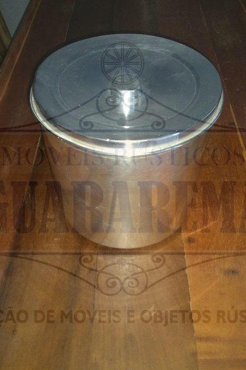Pote antigo para mantimento em alumínio com tampa (22 cm diãmetro).
