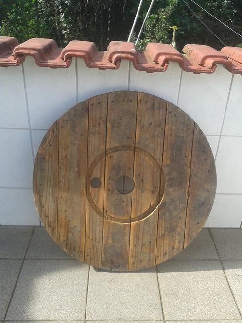 Tampo rústico de carretel de madeira 0,80m diâmetro.