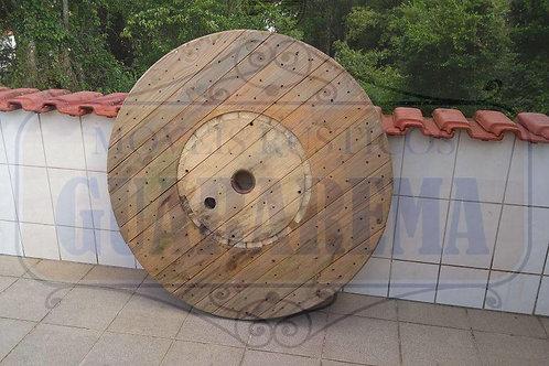 Tampo rústico de carretel de madeira 1,26m diâmetro.