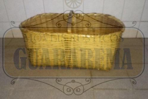 Cesto rústico grande tipo pão uma alça (0,97m x 0,45m x 0,37m altura) para decor