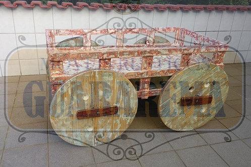 Mini carroça em madeira com rodas de carretel 1,40 x 0,95 x 0,75m para decoração