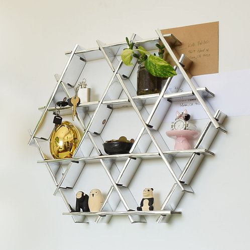 Entryway floating shelf- Small cardboard Ruche - Chrome finish