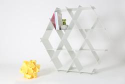 white aluminum shelves