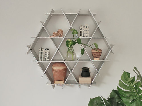 Medium cardboard Ruche - livingroom hanging shelves- Silver holografic finish