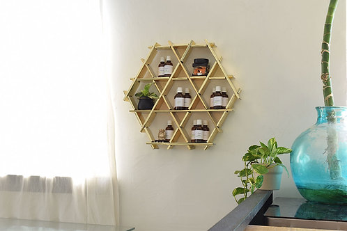 Essential oil storage - cardboard Ruche shelving - Gold finish