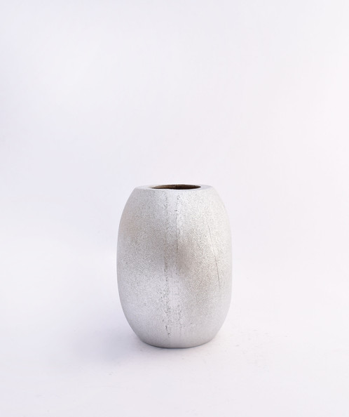 Wooden Oval Vase Silver Finish
