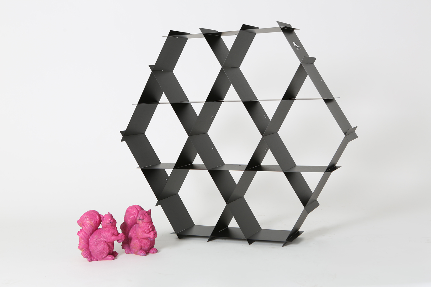 black hexagon shelves