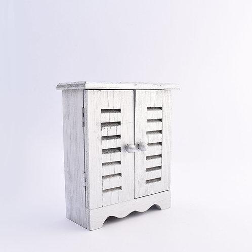 Wooden miniature wardrobe/jewelry box - silver finish