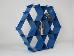 blue shelving unit bookshelf