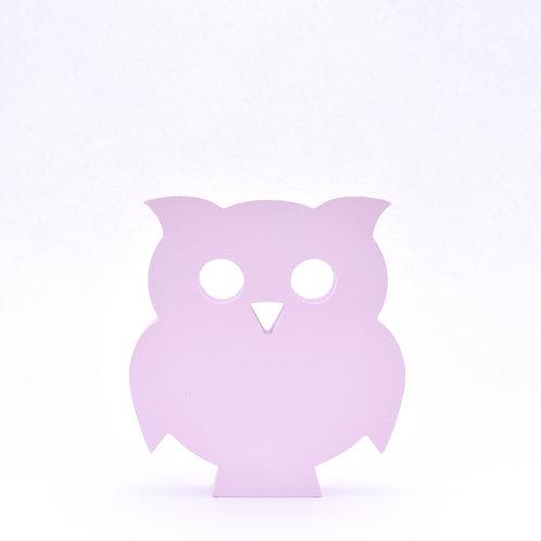 Cute wooden owl figure - piglet pink