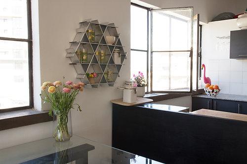 medium cardboard ruche kitchen floating shelves chrome finish