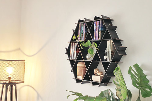 Medium cardboard Ruche - livingroom hanging shelves - Matte black finish